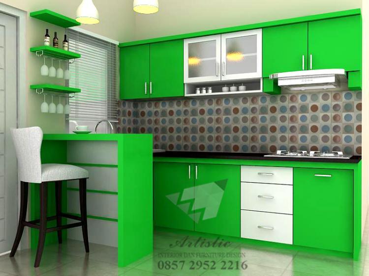 Desain Baru Dapur Kitchen Set Minimalis Warna Hijau Menyegarkan